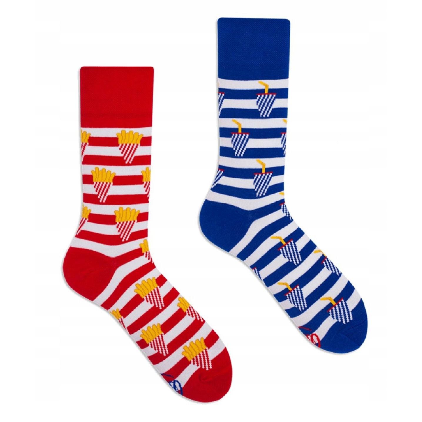 veselé ponožky FRIES AND SODA hranolky sóda 43-46 farebné megamix.sk