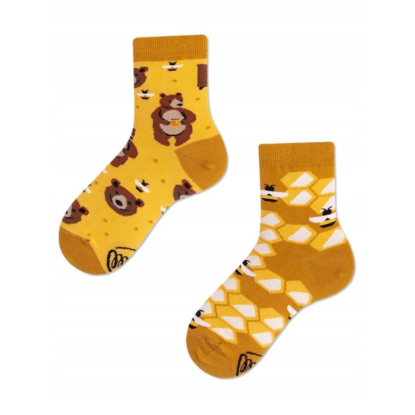 Veselé ponožky detské HONEY BEAR medveď med včielky 23-26 farebné megamix.sk