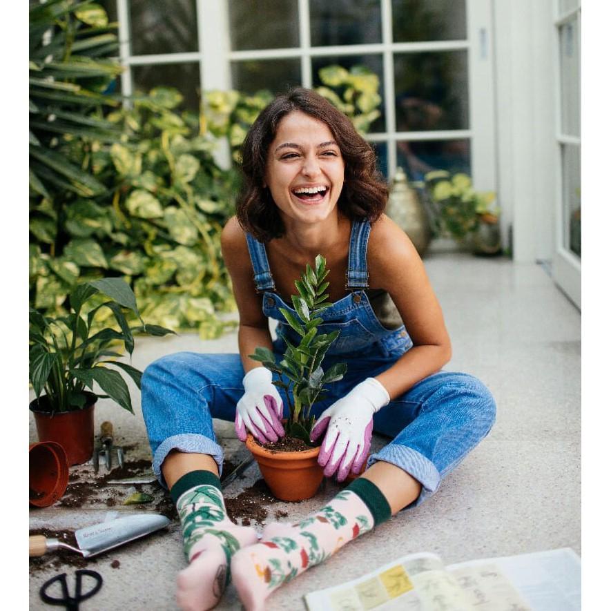 veselé ponožky PLANT LOVER rastliny kvetináče 35-38 farebné megamix.sk