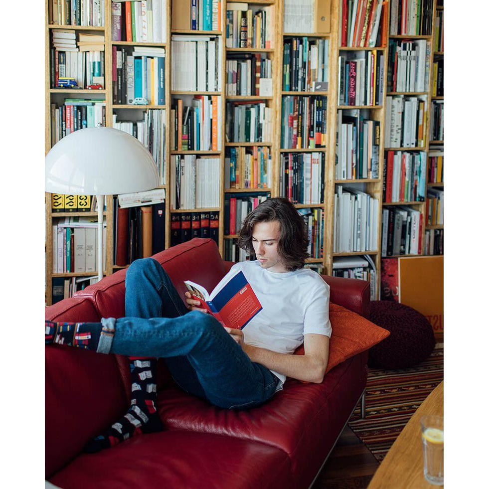 veselé ponožky BOOK STORY knižnica knihy budík 35-38 farebné megamix.sk