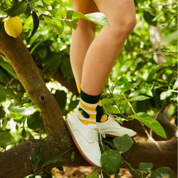 Veselé ponožky detské LEMON citrón lístky 23-26 farebné megamix.sk