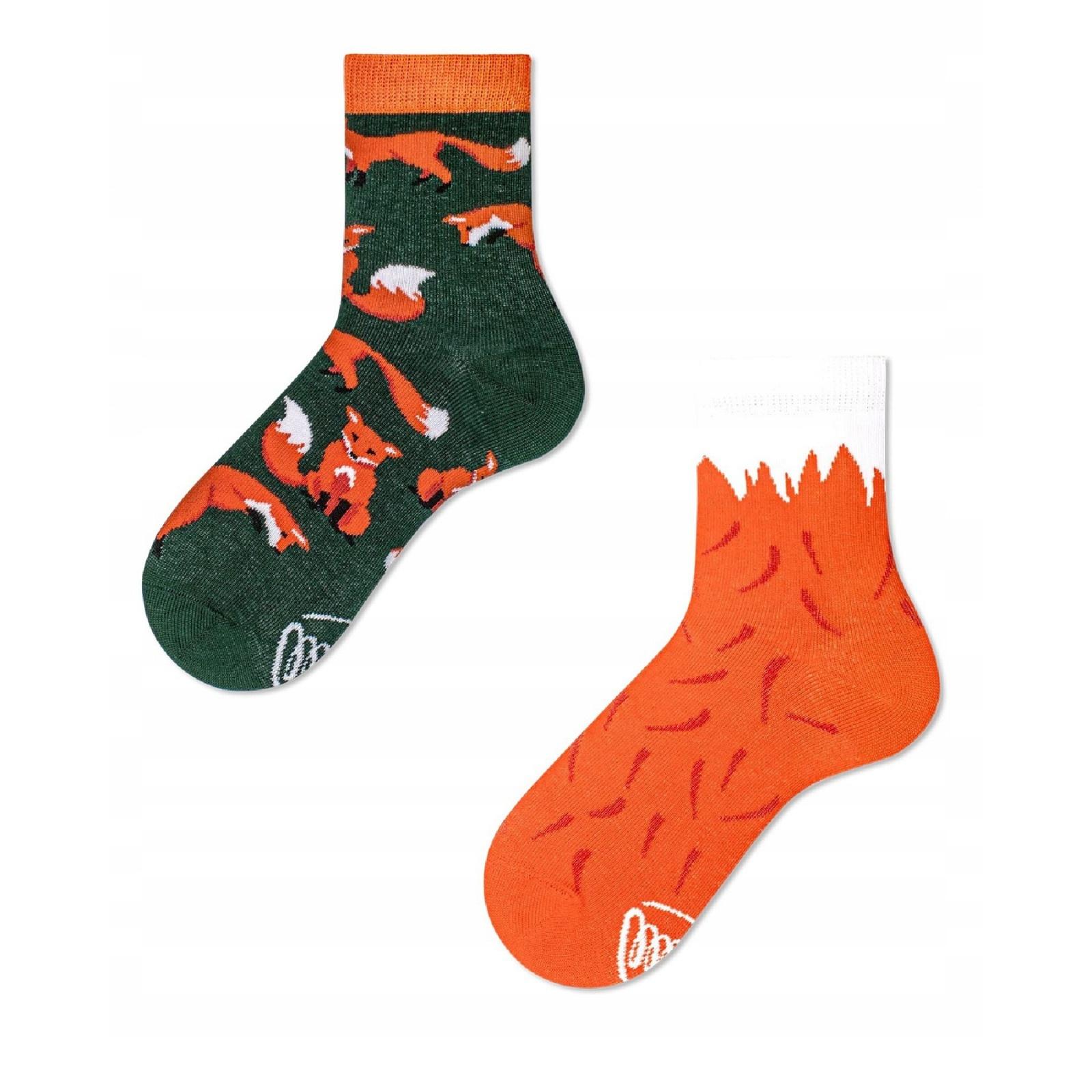 Veselé ponožky detské RED FOX červená líška 23-26 farebné megamix.sk