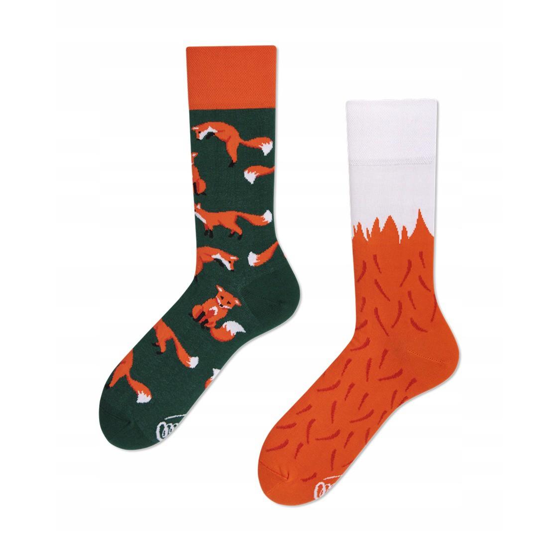 veselé ponožky RED FOX červená líška 35-38 farebné megamix.sk