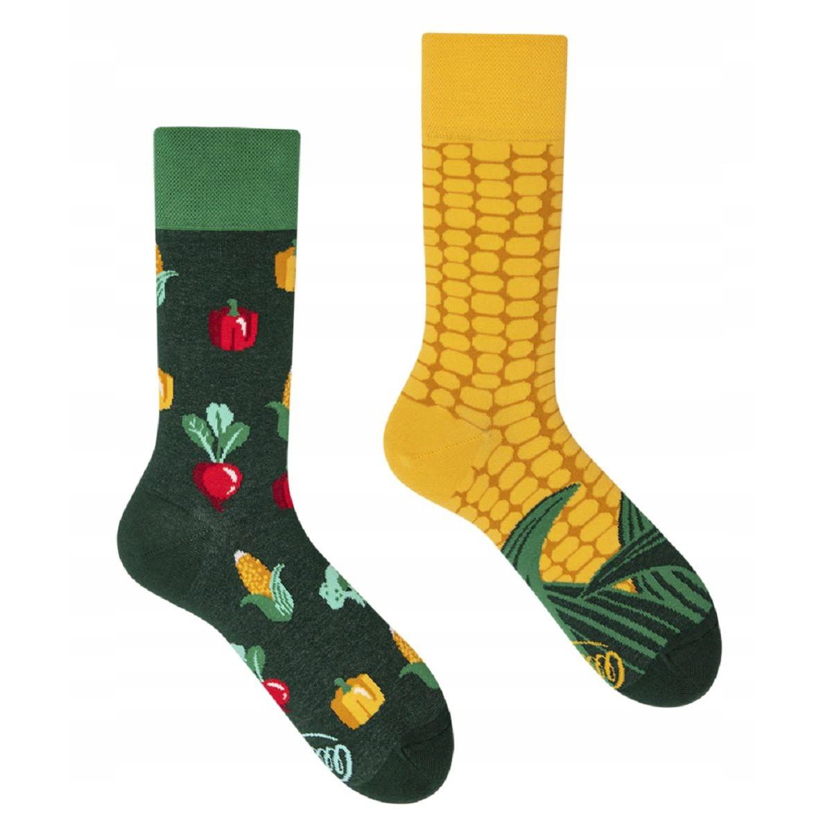 veselé ponožky VEGGIE MIX kukurica zelenina 35-38 farebné megamix.sk