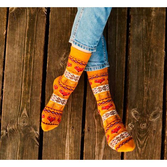 veselé ponožky WARM FOX líšky 35-38 farebné megamix.sk