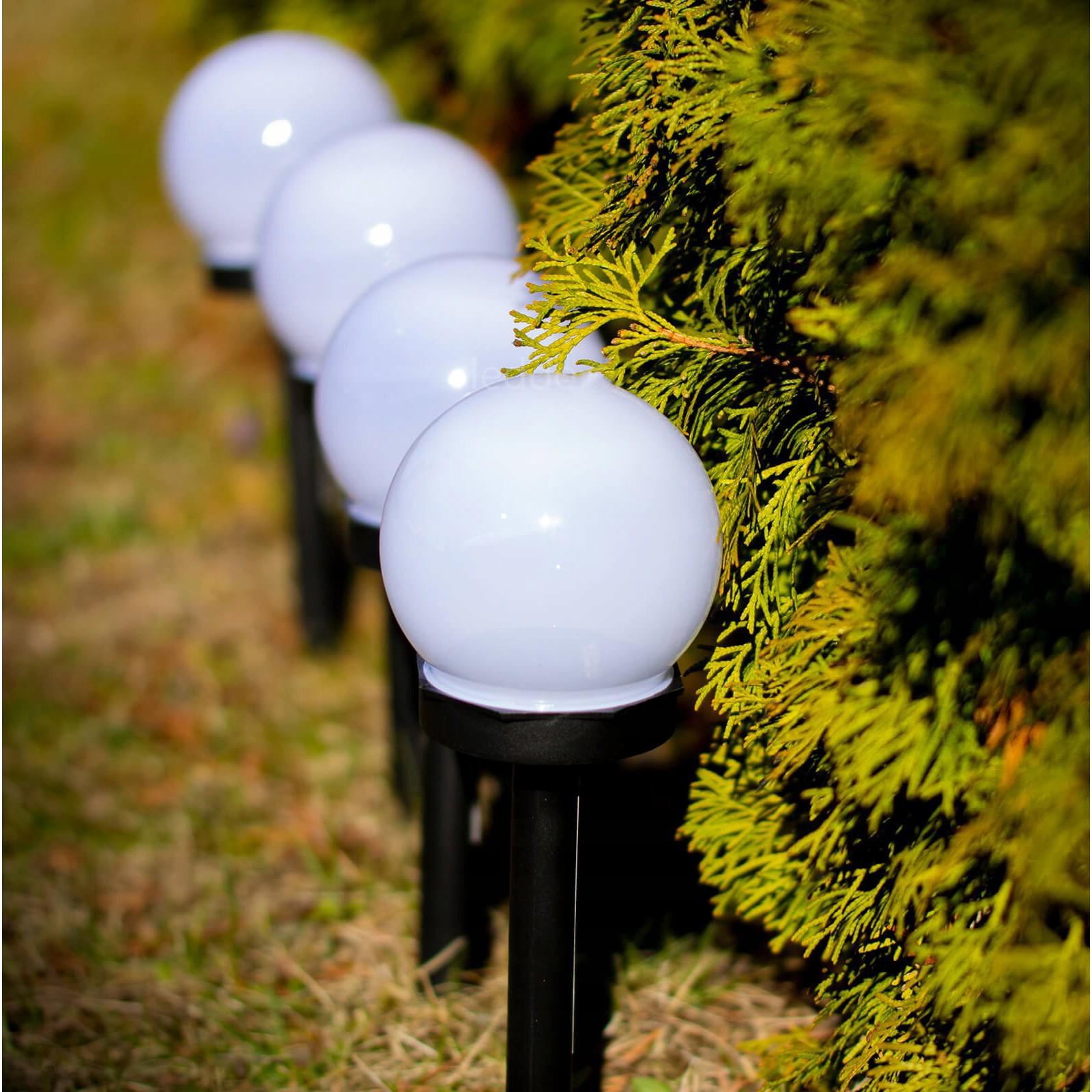 záhradné solárne lampy LED 6ks guľa 6000K megamix.sk